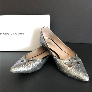 Marc Jacobs Silver Glittered Flats